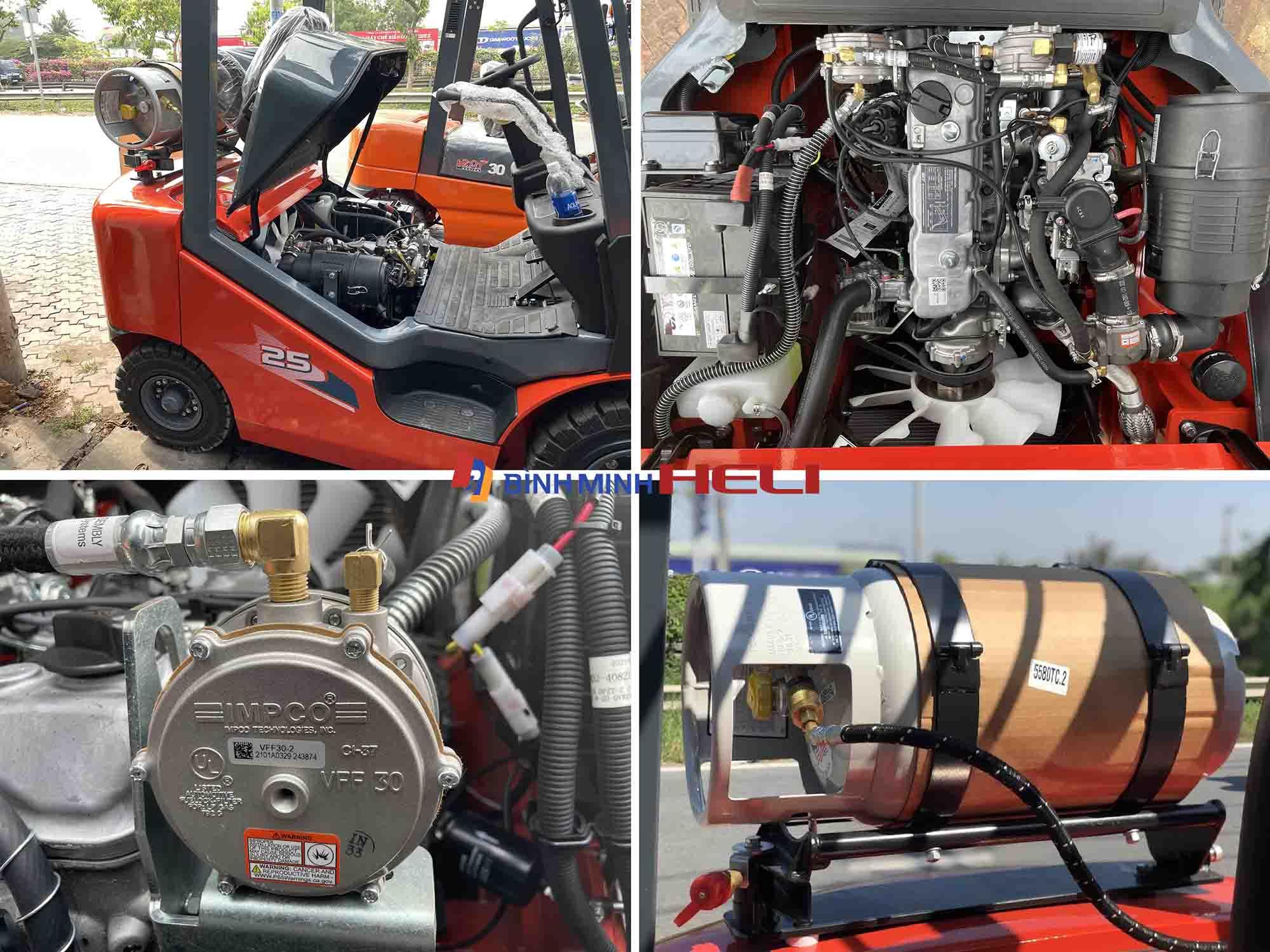 Các bộ phận chính trên xe nâng chạy xăng gas