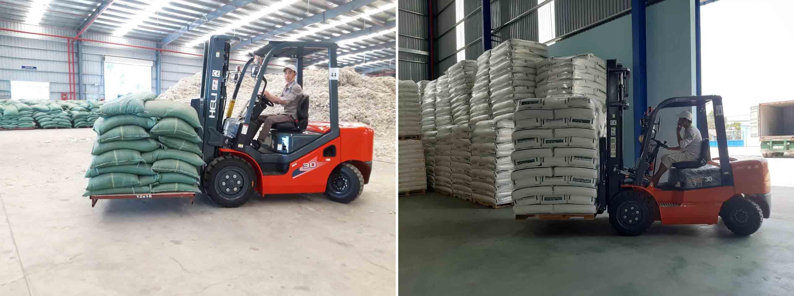 Xe nâng Heli tại nhà máy sản xuất bột gỗ