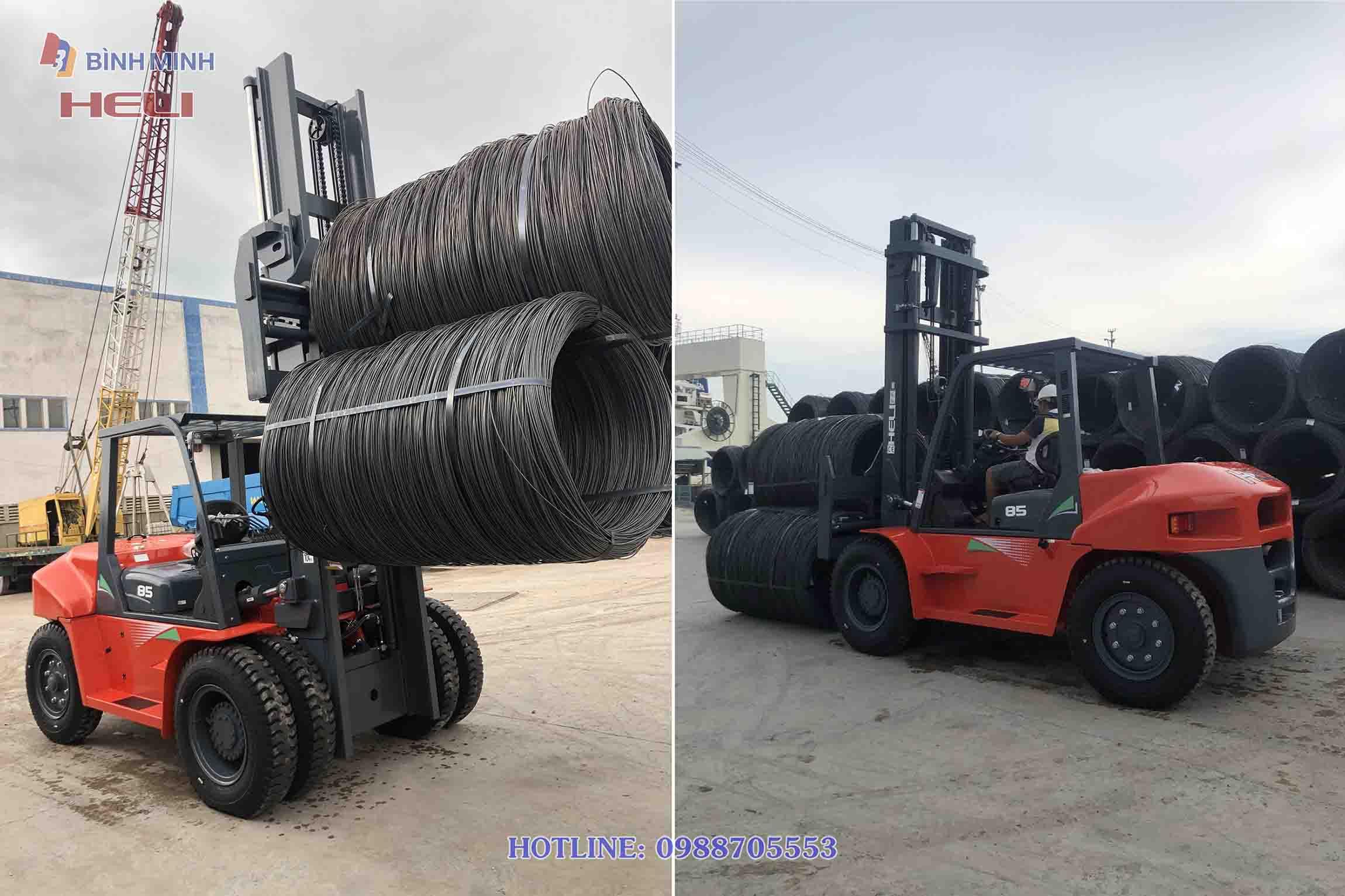 Xe nâng HELI 8 tấn nâng cuộn thép